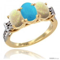 10K Yellow Gold Natural Turquoise & Opal Sides Ring 3-Stone Oval 7x5 mm Diamond Accent