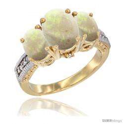 10K Yellow Gold Ladies 3-Stone Oval Natural Opal Ring Diamond Accent