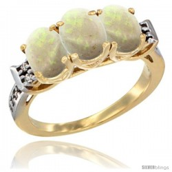 10K Yellow Gold Natural Opal Ring 3-Stone Oval 7x5 mm Diamond Accent
