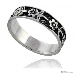 Sterling Silver Flower Wedding Band Ring 1/4 in wide