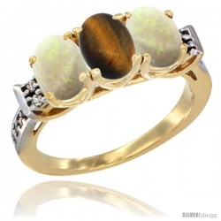10K Yellow Gold Natural Tiger Eye & Opal Sides Ring 3-Stone Oval 7x5 mm Diamond Accent