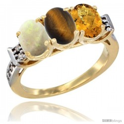 10K Yellow Gold Natural Opal, Tiger Eye & Whisky Quartz Ring 3-Stone Oval 7x5 mm Diamond Accent