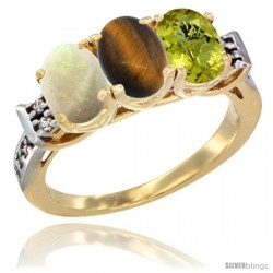 10K Yellow Gold Natural Opal, Tiger Eye & Lemon Quartz Ring 3-Stone Oval 7x5 mm Diamond Accent