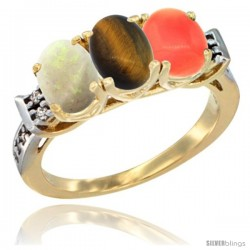 10K Yellow Gold Natural Opal, Tiger Eye & Coral Ring 3-Stone Oval 7x5 mm Diamond Accent