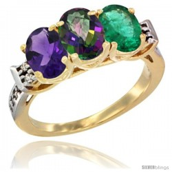 10K Yellow Gold Natural Amethyst, Mystic Topaz & Emerald Ring 3-Stone Oval 7x5 mm Diamond Accent