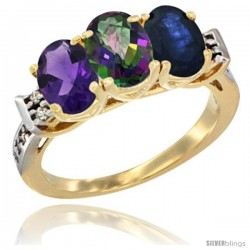 10K Yellow Gold Natural Amethyst, Mystic Topaz & Blue Sapphire Ring 3-Stone Oval 7x5 mm Diamond Accent