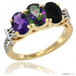 10K Yellow Gold Natural Amethyst, Mystic Topaz & Black Onyx Ring 3-Stone Oval 7x5 mm Diamond Accent