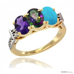 10K Yellow Gold Natural Amethyst, Mystic Topaz & Turquoise Ring 3-Stone Oval 7x5 mm Diamond Accent
