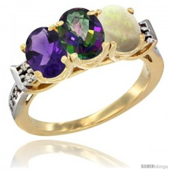 10K Yellow Gold Natural Amethyst, Mystic Topaz & Opal Ring 3-Stone Oval 7x5 mm Diamond Accent