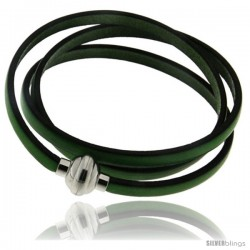 Surgical Steel Italian Leather Wrap Massai Bracelet w/ Super Magnet Clasp, Color Green