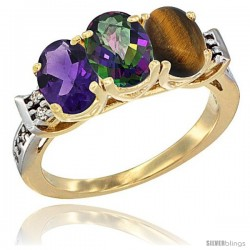 10K Yellow Gold Natural Amethyst, Mystic Topaz & Tiger Eye Ring 3-Stone Oval 7x5 mm Diamond Accent