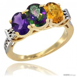 10K Yellow Gold Natural Amethyst, Mystic Topaz & Whisky Quartz Ring 3-Stone Oval 7x5 mm Diamond Accent