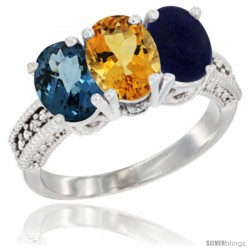 14K White Gold Natural London Blue Topaz, Citrine & Lapis Ring 3-Stone 7x5 mm Oval Diamond Accent