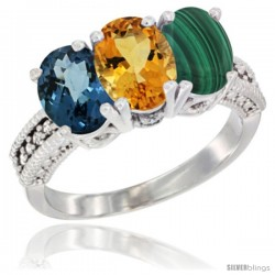 14K White Gold Natural London Blue Topaz, Citrine & Malachite Ring 3-Stone 7x5 mm Oval Diamond Accent