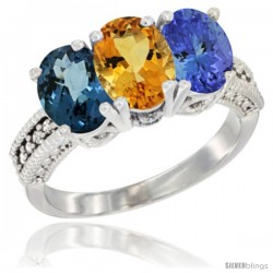 14K White Gold Natural London Blue Topaz, Citrine & Tanzanite Ring 3-Stone 7x5 mm Oval Diamond Accent