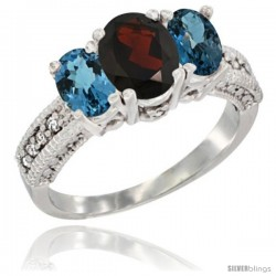 14k White Gold Ladies Oval Natural Garnet 3-Stone Ring with London Blue Topaz Sides Diamond Accent