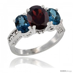 14K White Gold Ladies 3-Stone Oval Natural Garnet Ring with London Blue Topaz Sides Diamond Accent