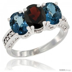 14K White Gold Natural Garnet & London Blue Topaz Sides Ring 3-Stone 7x5 mm Oval Diamond Accent