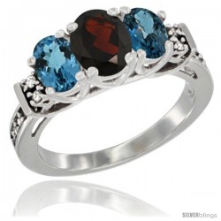 14K White Gold Natural Garnet & London Blue Ring 3-Stone Oval with Diamond Accent