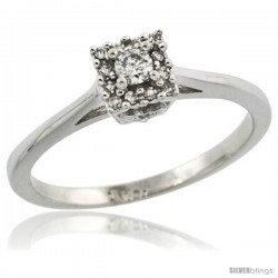 10k White Gold Square-shaped Diamond Engagement Ring w/ 0.119 Carat Brilliant Cut Diamonds, 3/16 in. (5mm) wide