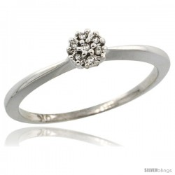 10k White Gold Flower Cluster Diamond Engagement Ring w/ 0.022 Carat Brilliant Cut Diamonds, 3/16 in. (5mm) wide