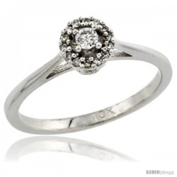 10k White Gold Round Diamond Engagement Ring w/ 0.112 Carat Brilliant Cut Diamonds, 1/4 in. (6mm) wide