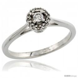 10k White Gold Round Diamond Engagement Ring w/ 0.112 Carat Brilliant Cut Diamonds, 1/4 in. (6mm) wide