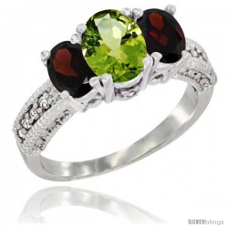 14k White Gold Ladies Oval Natural Peridot 3-Stone Ring with Garnet Sides Diamond Accent