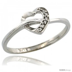 10k White Gold Heart Cut Out Diamond Engagement Ring w/ 0.022 Carat Brilliant Cut Diamonds, 1/4 in. (7mm) wide
