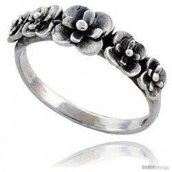 Sterling Silver Flower Link Ring 5/16 in wide
