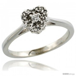 10k White Gold Heart-shaped Diamond Engagement Ring w/ 0.086 Carat Brilliant Cut Diamonds, 1/4 in. (6.5mm) wide