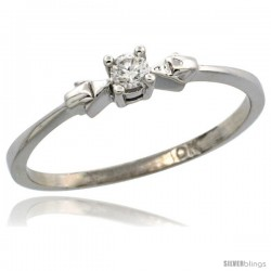 10k White Gold Solitaire Diamond Engagement Ring w/ 0.077 Carat Brilliant Cut Diamond, 1/8 in. (3mm) wide