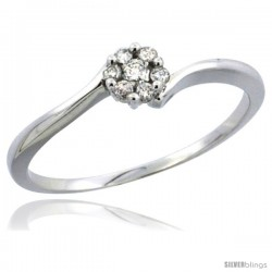 10k White Gold Flower Cluster Diamond Engagement Ring w/ 0.12 Carat Brilliant Cut Diamonds, 3/16 in. (4.5mm) wide