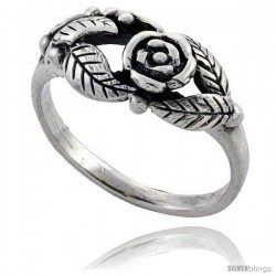 Sterling Silver Flower Vine Ring 5/16 in wide