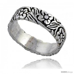 Sterling Silver Flower Vine Wedding Band Ring 3/16 in wide