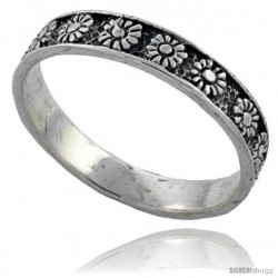 Sterling Silver Thin Flower Wedding Band Ring