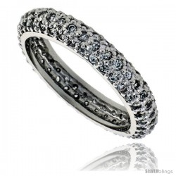 Sterling Silver Micro Pave Cubic Zirconia Domed Eternity Band Ring 1/8 in wide
