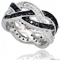 "Sterling Silver Braided Ring w/ Black & White CZ Stones, 5/16"" (8mm) wide"