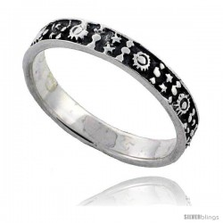 Sterling Silver Thin Stars, Hearts & Flowers Wedding Band Ring