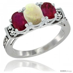 14K White Gold Natural Opal & Ruby Ring 3-Stone Oval with Diamond Accent