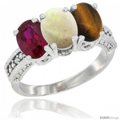 14K White Gold Natural Ruby, Opal & Tiger Eye Ring 3-Stone 7x5 mm Oval Diamond Accent