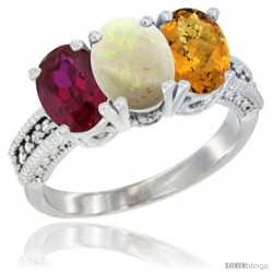 14K White Gold Natural Ruby, Opal & Whisky Quartz Ring 3-Stone 7x5 mm Oval Diamond Accent