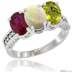 14K White Gold Natural Ruby, Opal & Lemon Quartz Ring 3-Stone 7x5 mm Oval Diamond Accent