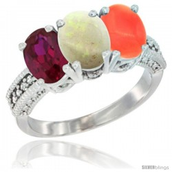 14K White Gold Natural Ruby, Opal & Coral Ring 3-Stone 7x5 mm Oval Diamond Accent