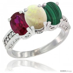 14K White Gold Natural Ruby, Opal & Malachite Ring 3-Stone 7x5 mm Oval Diamond Accent