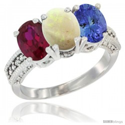 14K White Gold Natural Ruby, Opal & Tanzanite Ring 3-Stone 7x5 mm Oval Diamond Accent