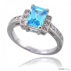 "Sterling Silver Vintage Style ring, w/ an 8 x 6 mm (1.5 ct) Emerald Cut Blue Topaz-colored CZ Stone, 3/16"" (5 mm)"