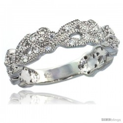 Sterling Silver Vintage Style Floral Vine Ring w/ Brilliant Cut CZ Stones, 7/32 in. (5.5 mm) wide