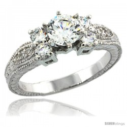 Sterling Silver Vintage Style Engagement Ring w/ Brilliant Cut CZ Stones, 1/4 in. (6 mm) wide