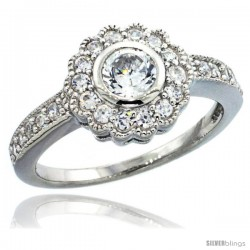 Sterling Silver Vintage Style Flower Ring w/ Brilliant Cut CZ Stones, 7/16 in. (11 mm) wide